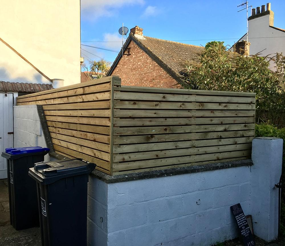 20 Linear slatted fence on wall